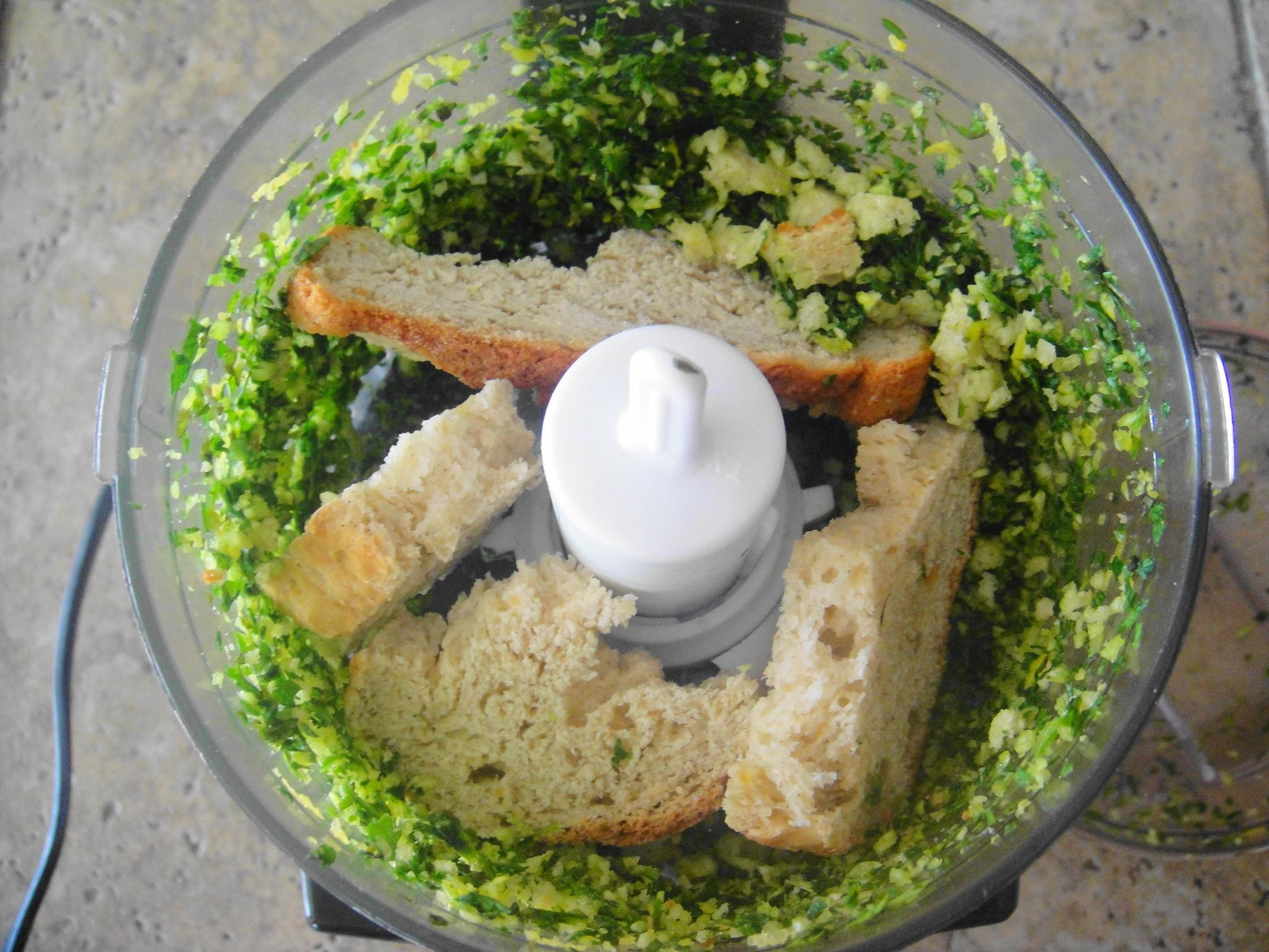 Bread in chopper gremolata