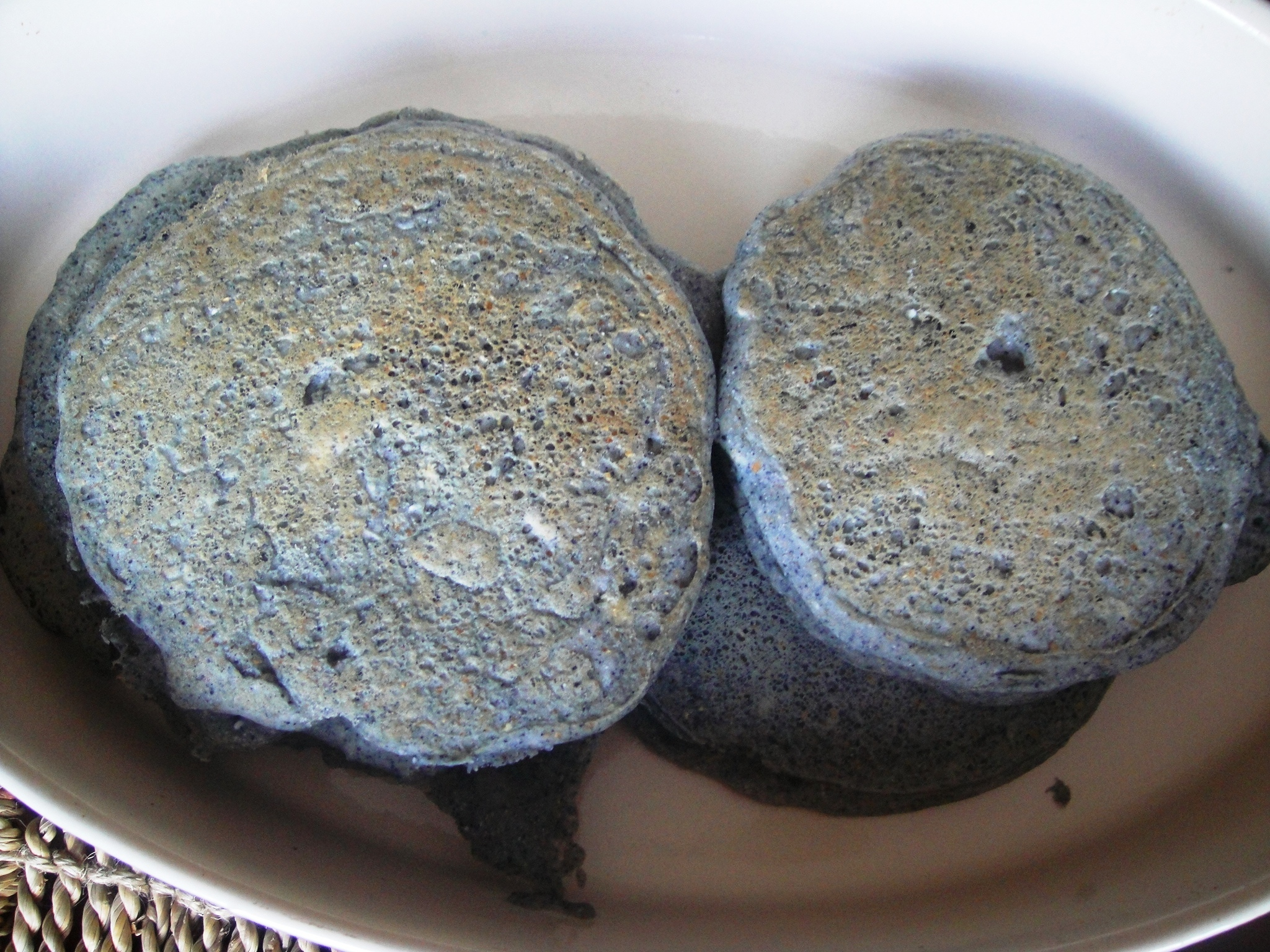 finished blue corn pancakes in dish