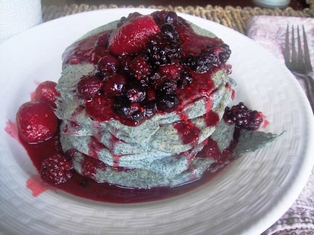 Blue corn pancakes plated  close up