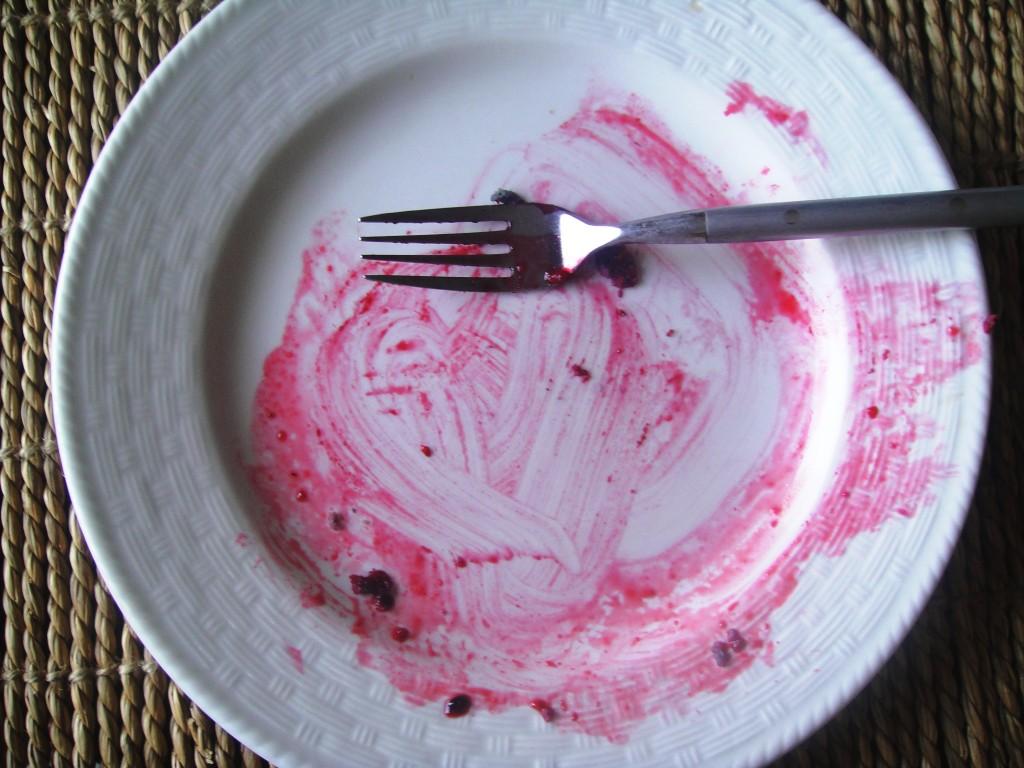 blue corn pancake empty plate w fork