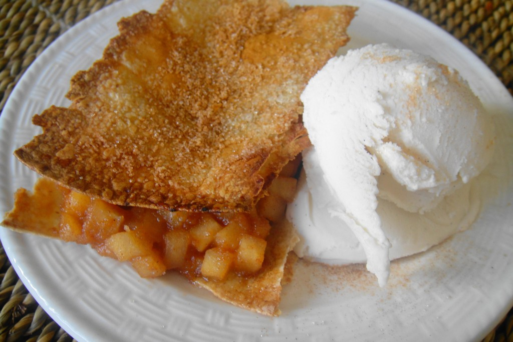 Plated apple pie tortilla with ice cream