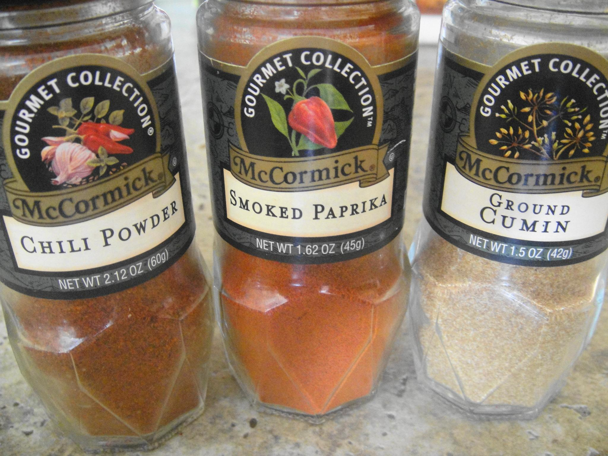 cumin smoked paprika chili powder bottles