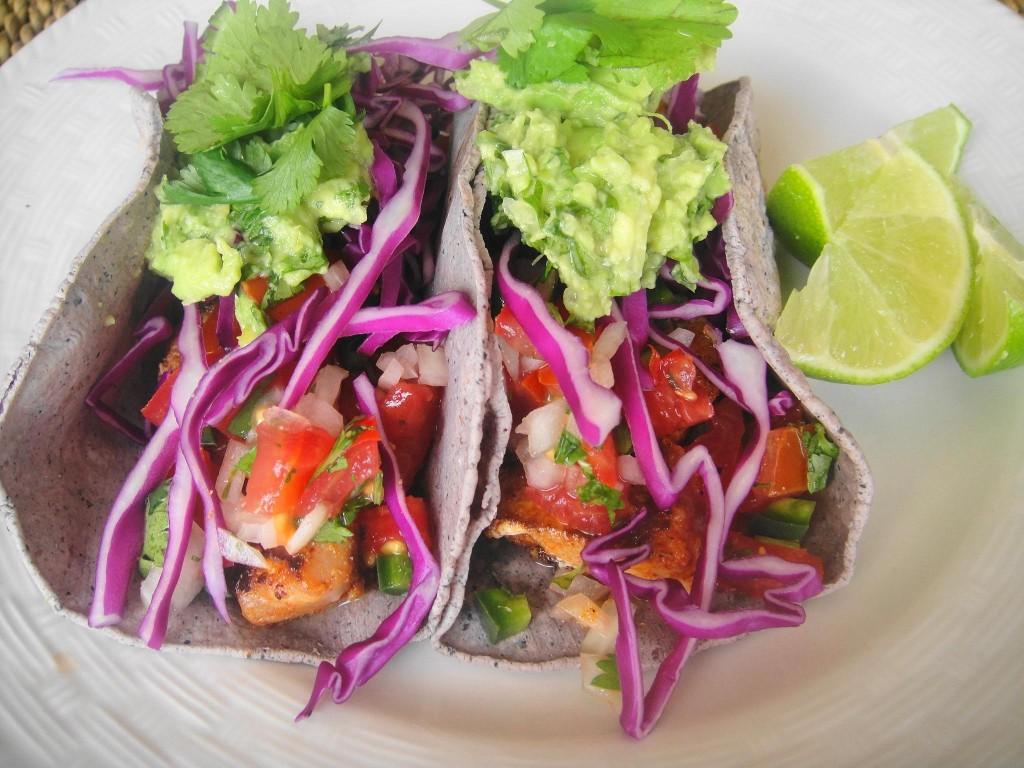 fish tacos close up