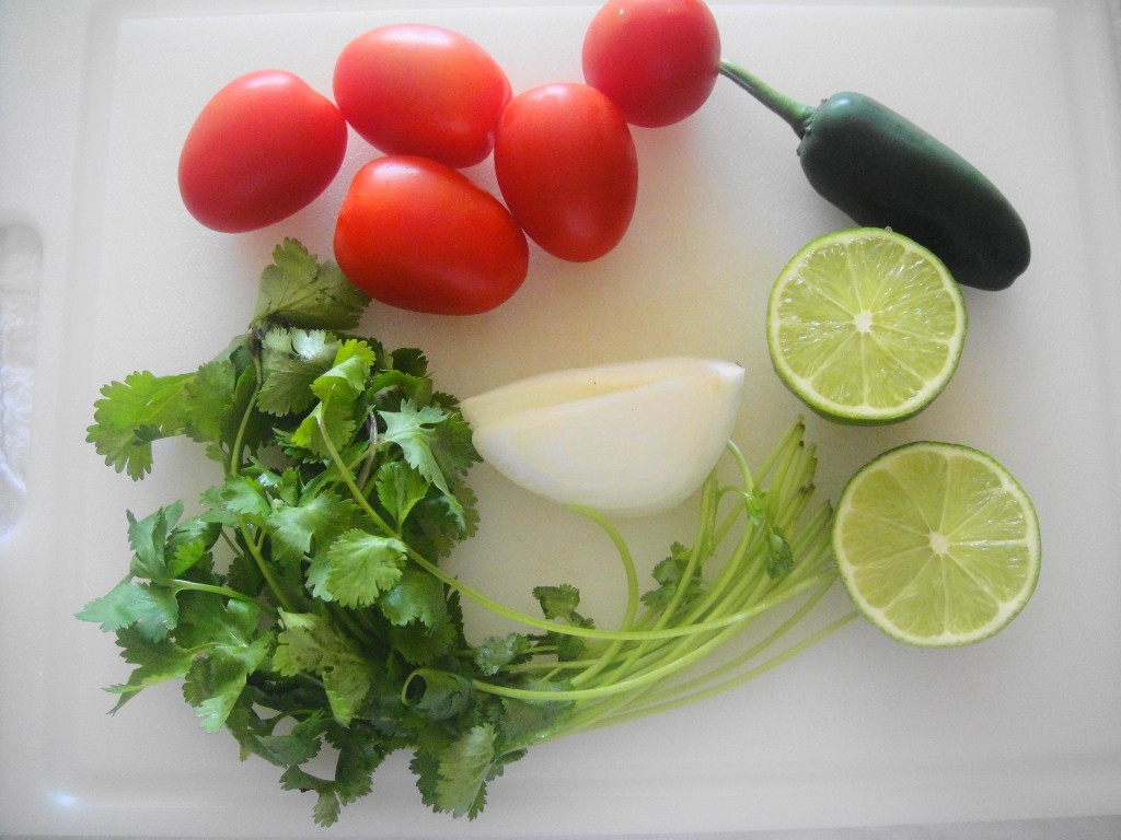 ingredients for pico de gallo on board