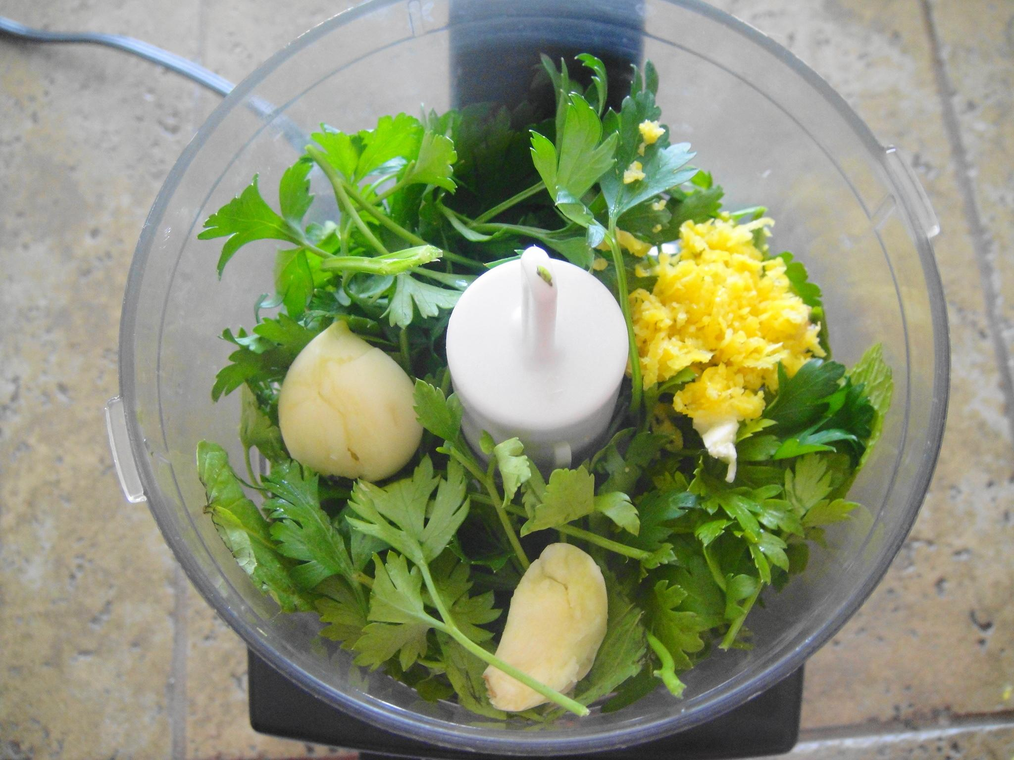 ingredients in mini chopper gremolata