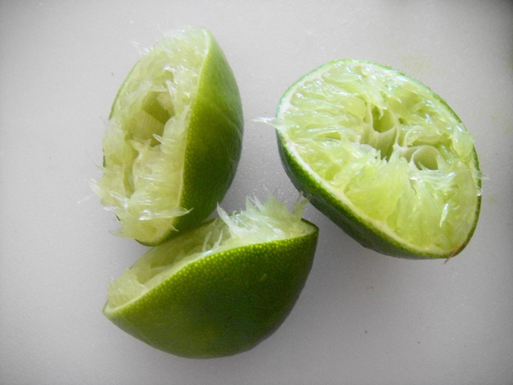 three squeezed limes