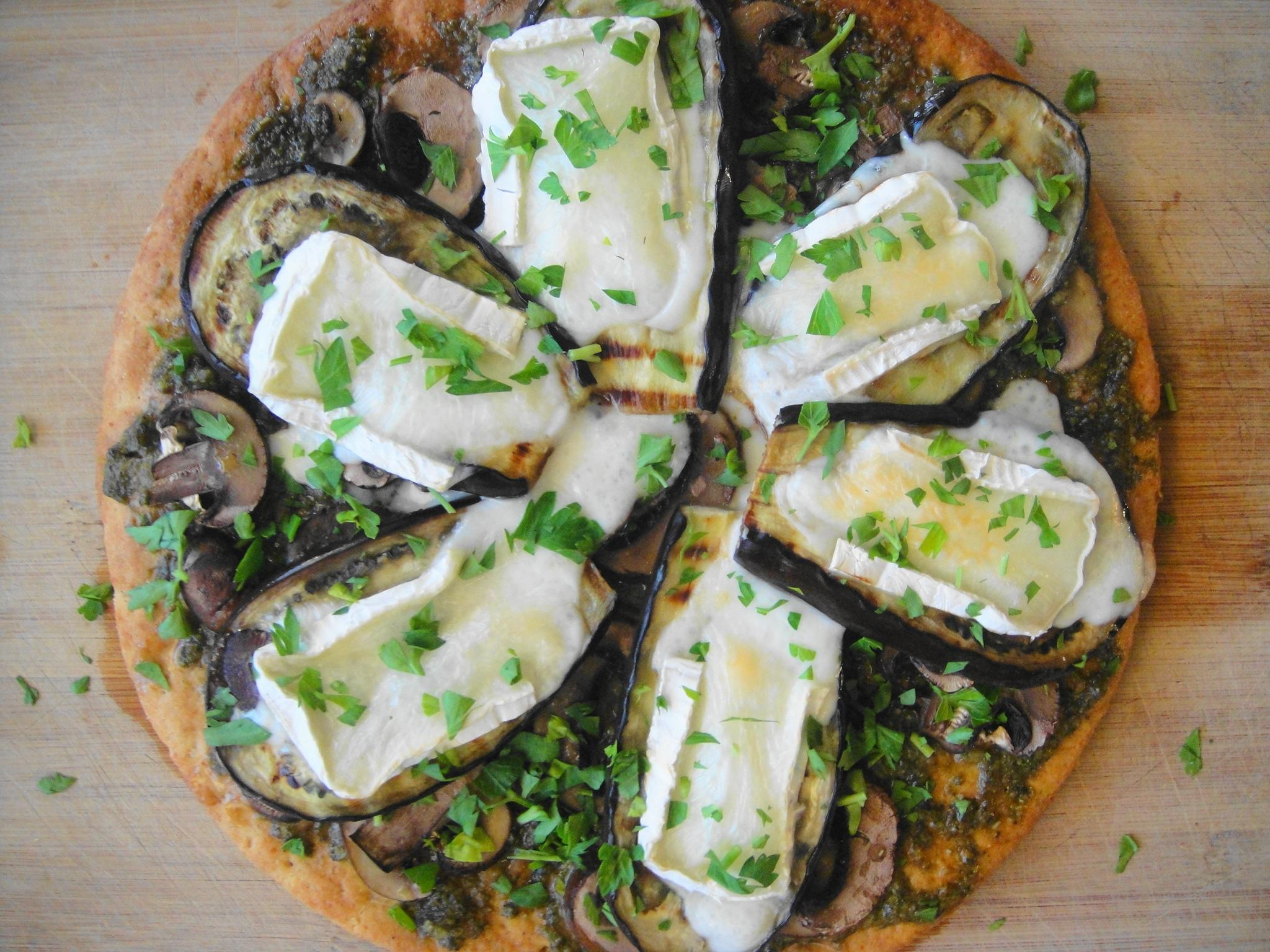 Pesto Eggplant Brie Pizza with Truffle Oil