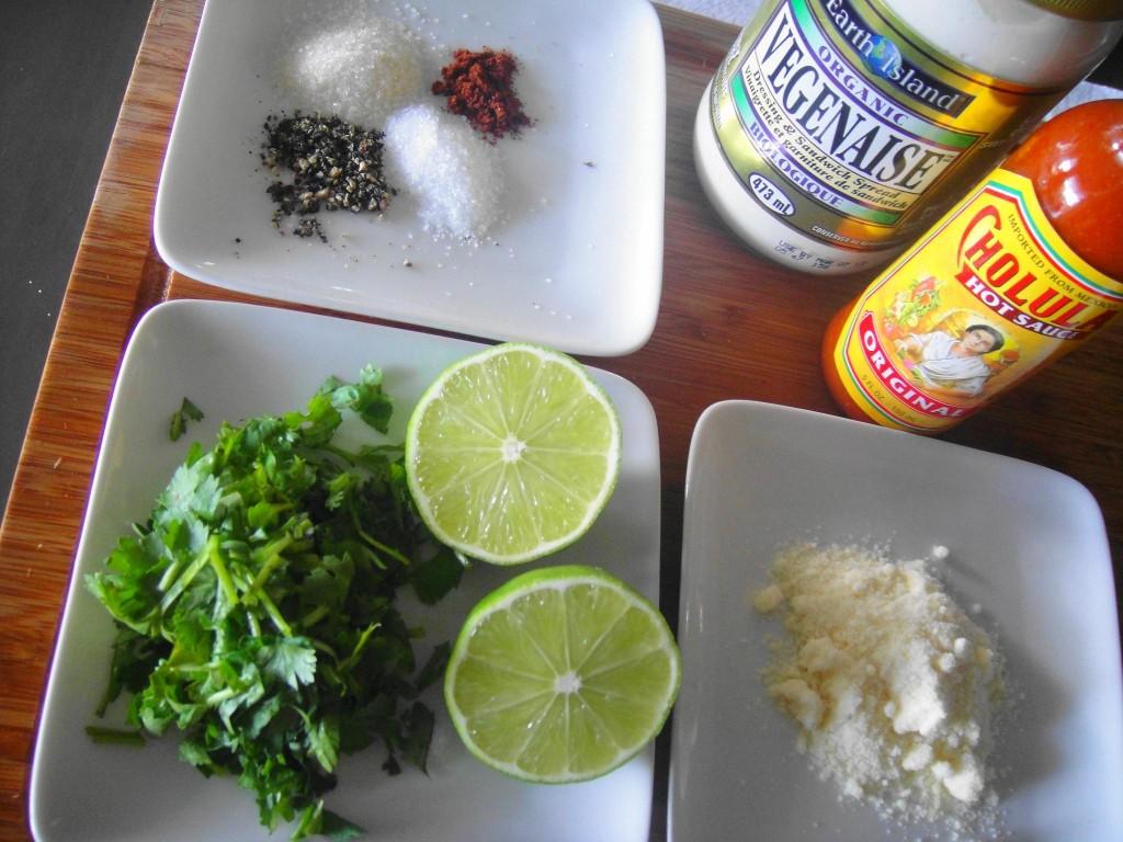 elote ingredients close up