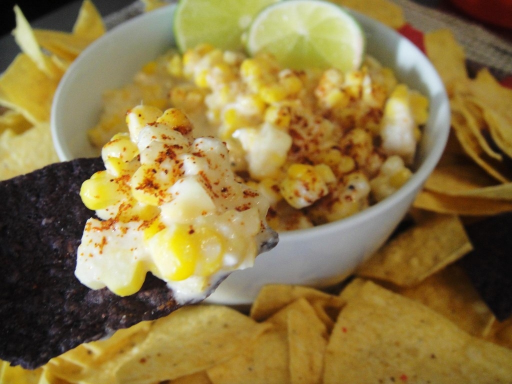 close up elote on chip