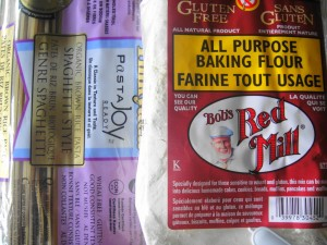 pasta package and bobs gf flour close up