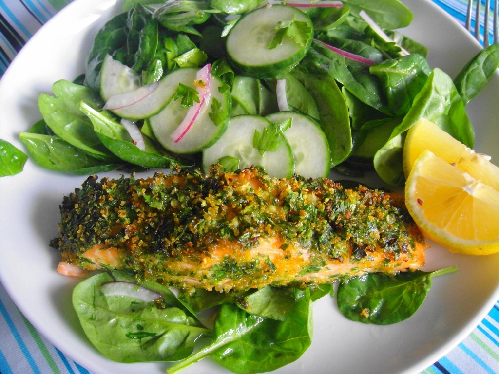 plated baked salmon