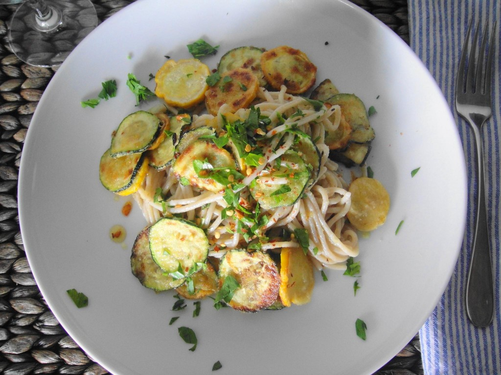 plated fried zucchini pasta