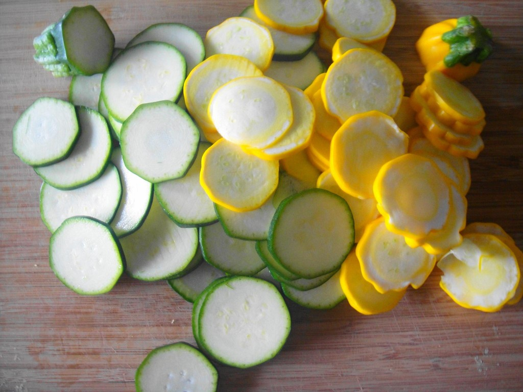 sliced zucchini green and yello
