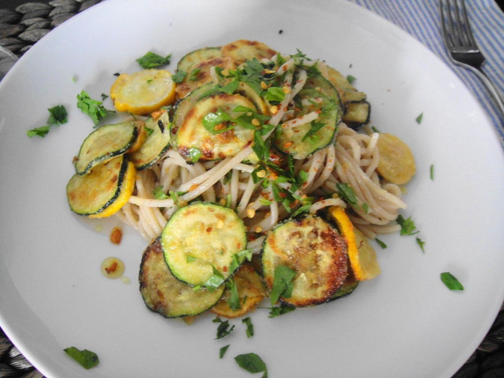 zucchini pasta done close up