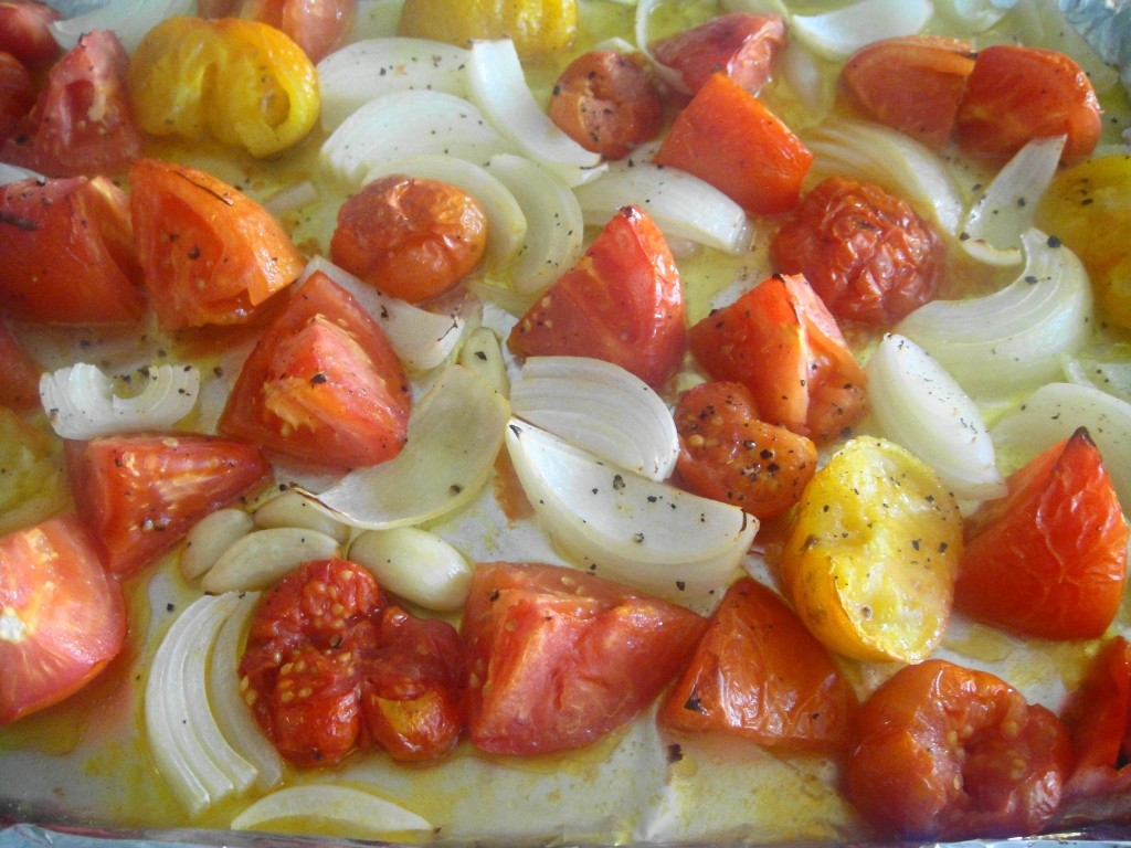 roasted tomatoes and onions
