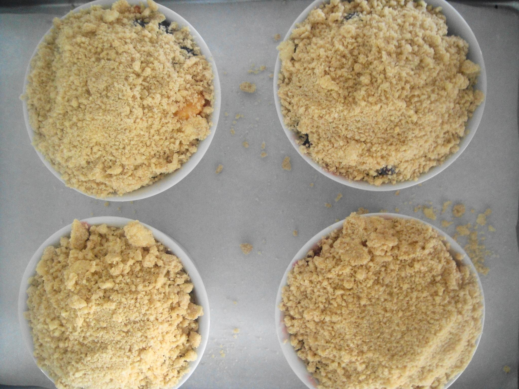 Crumble topping ready to bake