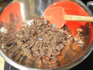 chopped chocolate double boiler