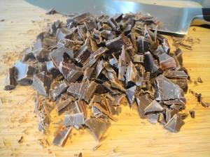 chocolate chunks cut