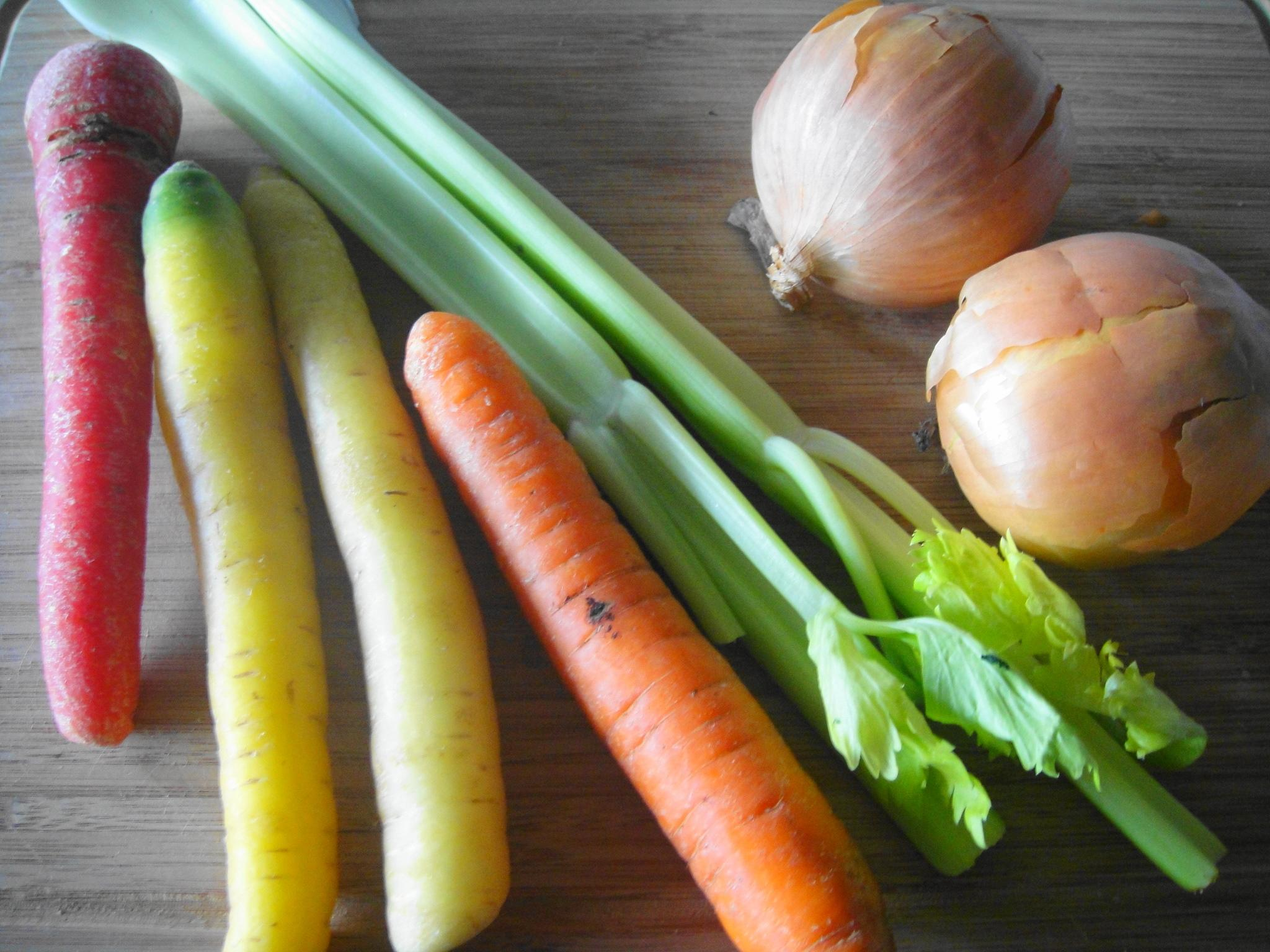 rainbow carrots celery onion