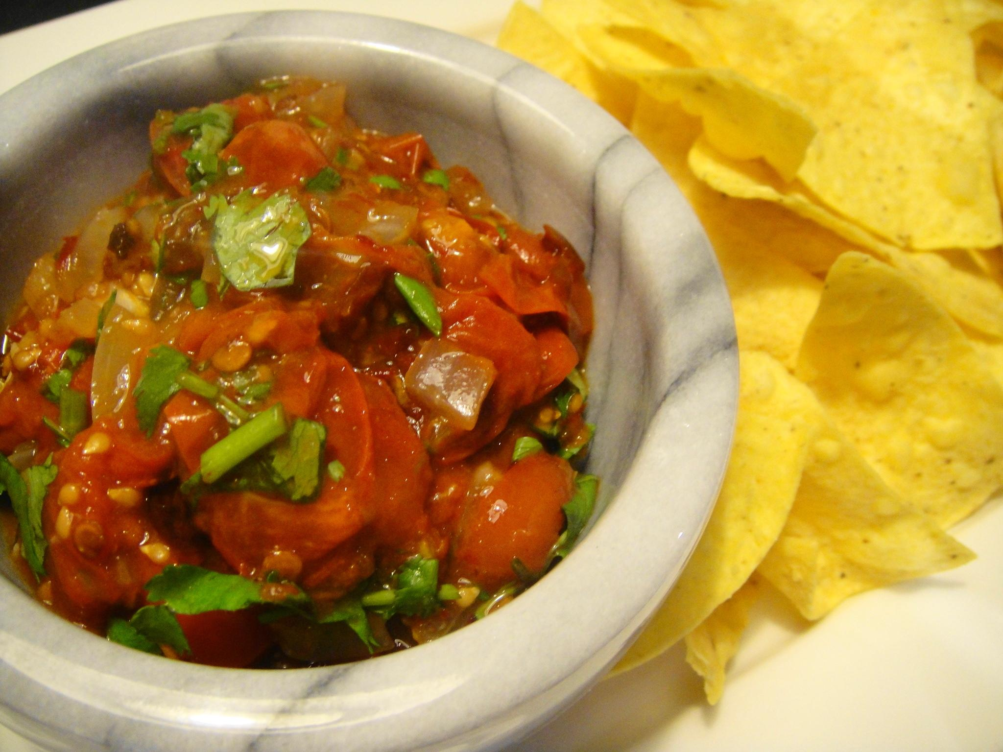 tomato salsa roasted tomato salsa quick tomato salsa simple cooked ...