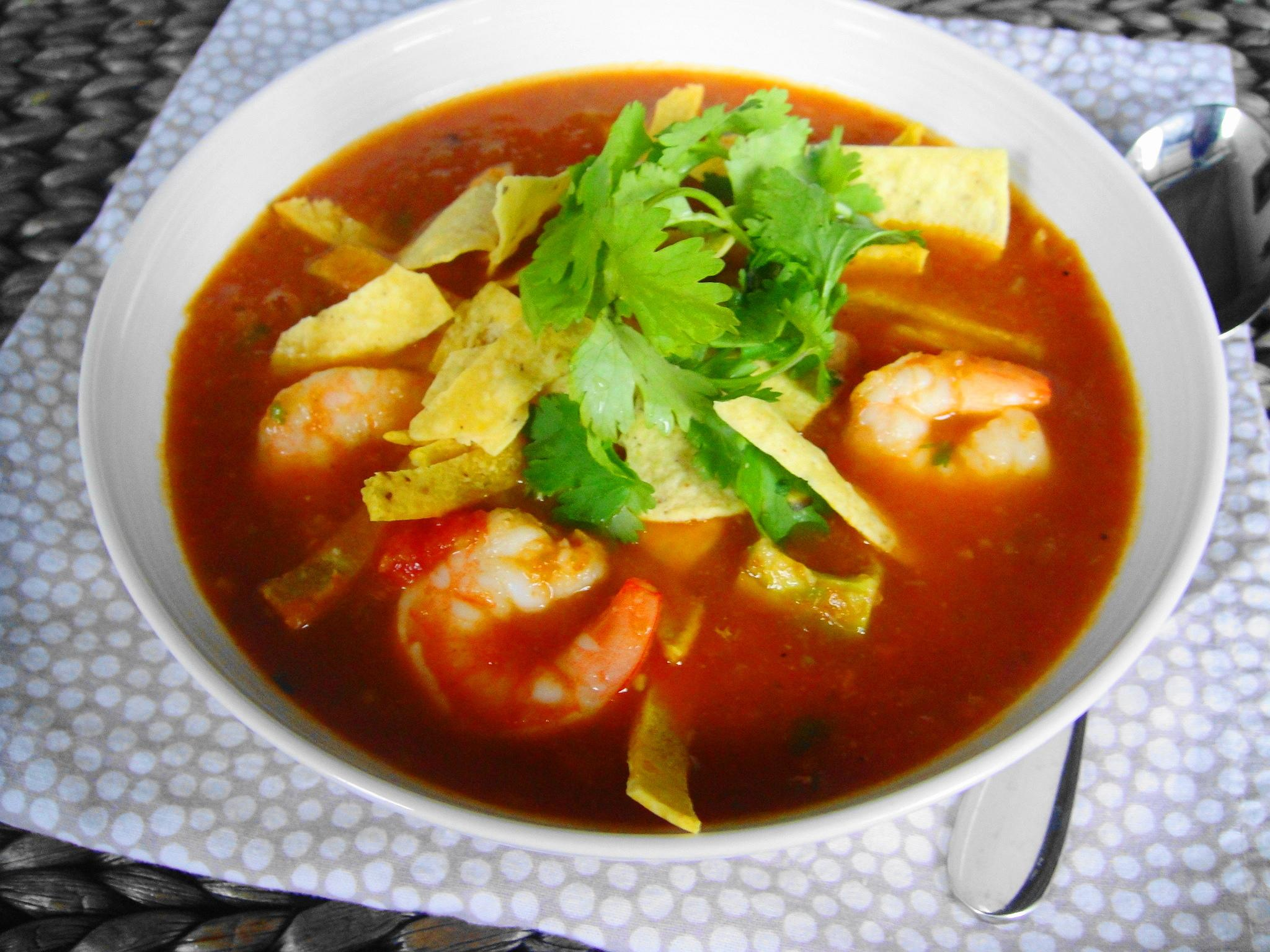 Mexican Tortilla Soup With Shrimp on chimichurri steak