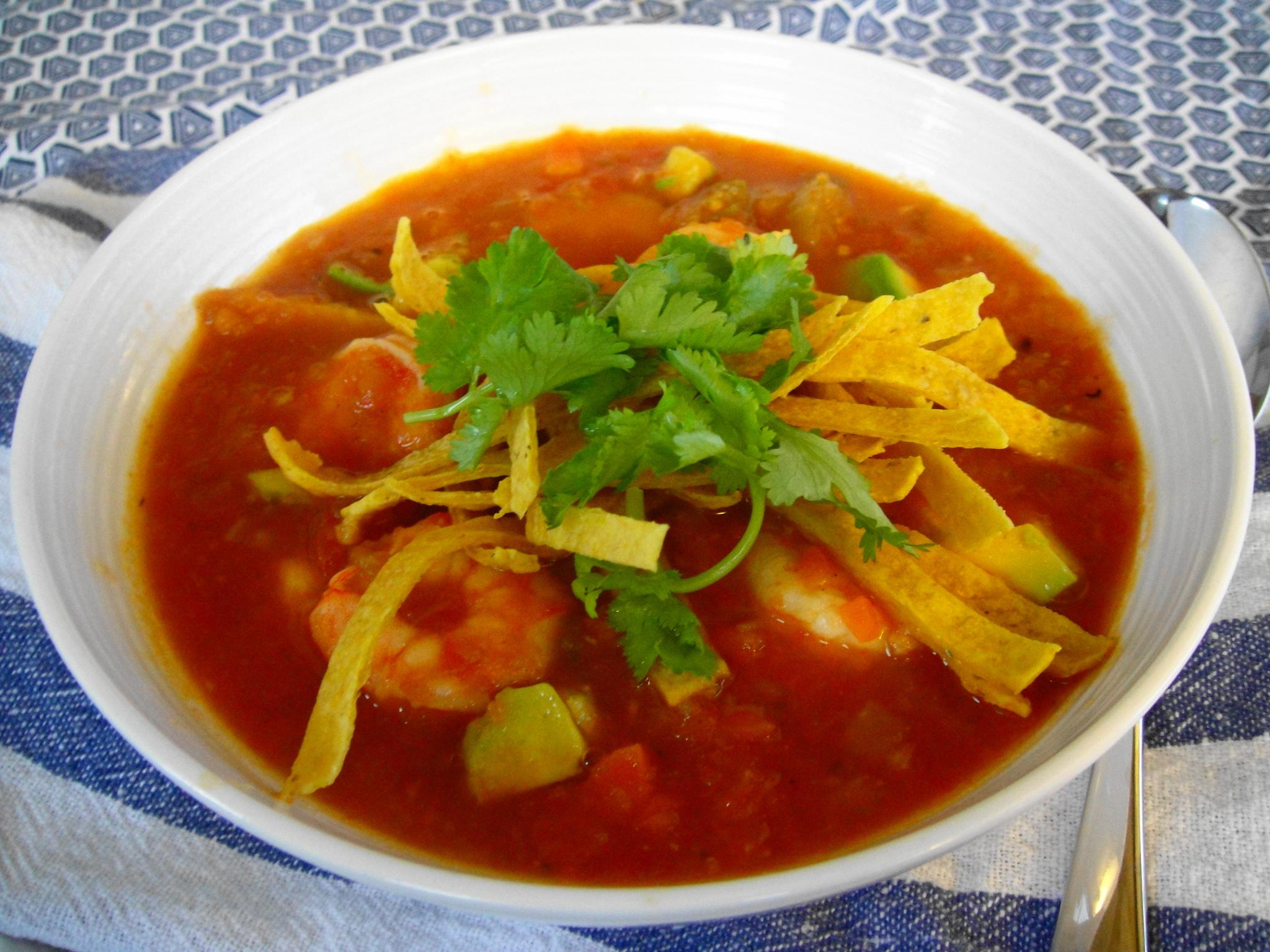 Mexican Tortilla Soup with Shrimp
