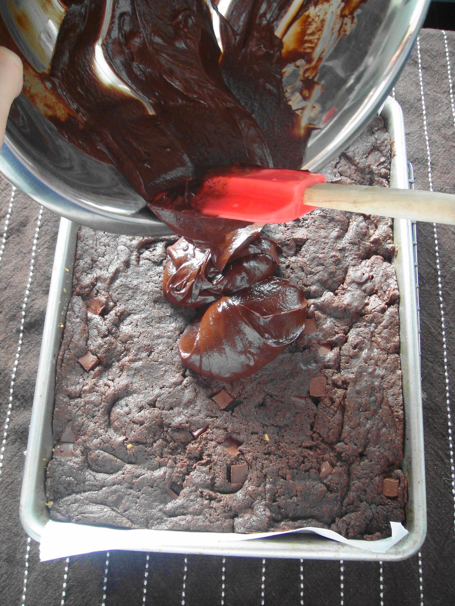 ganache on brownies