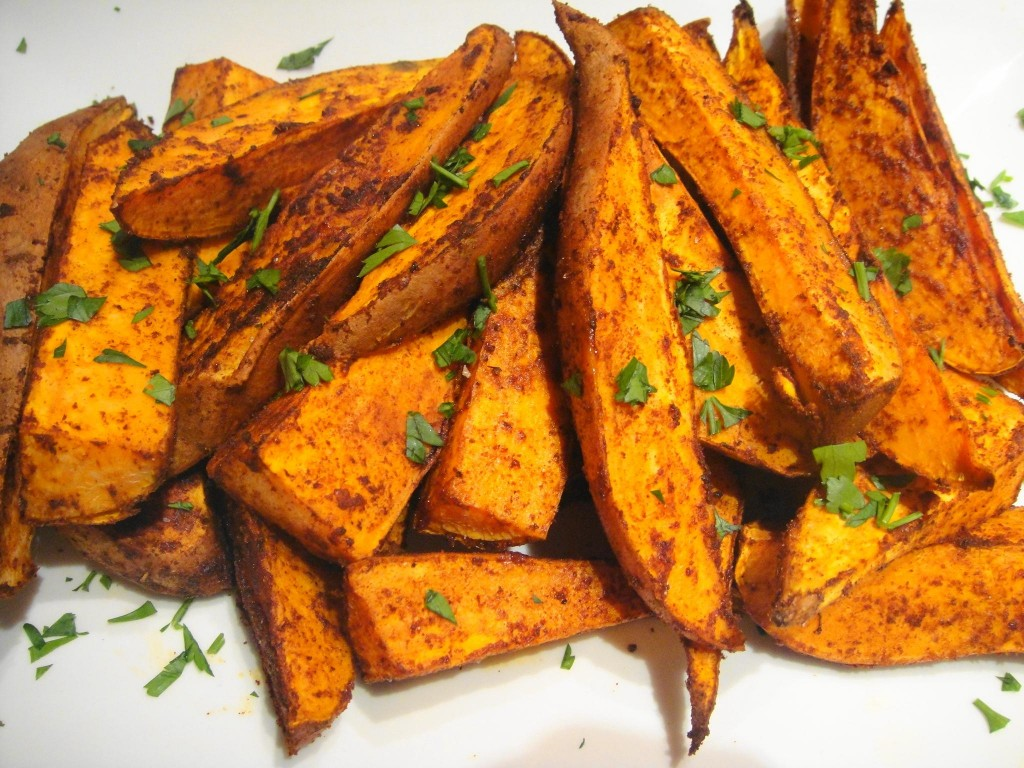 plated sweet potato wedges
