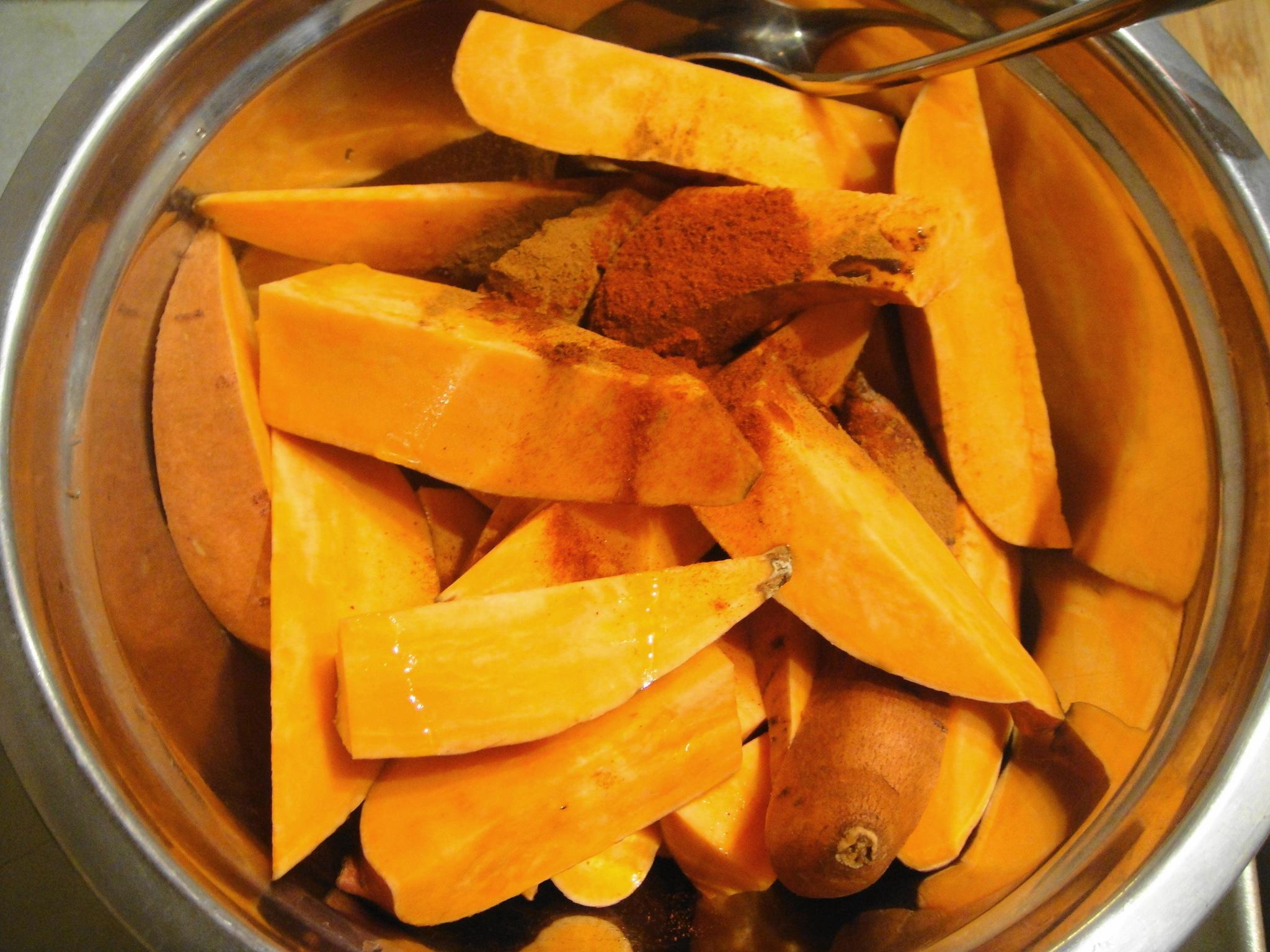 sweet potato wedges in bowl