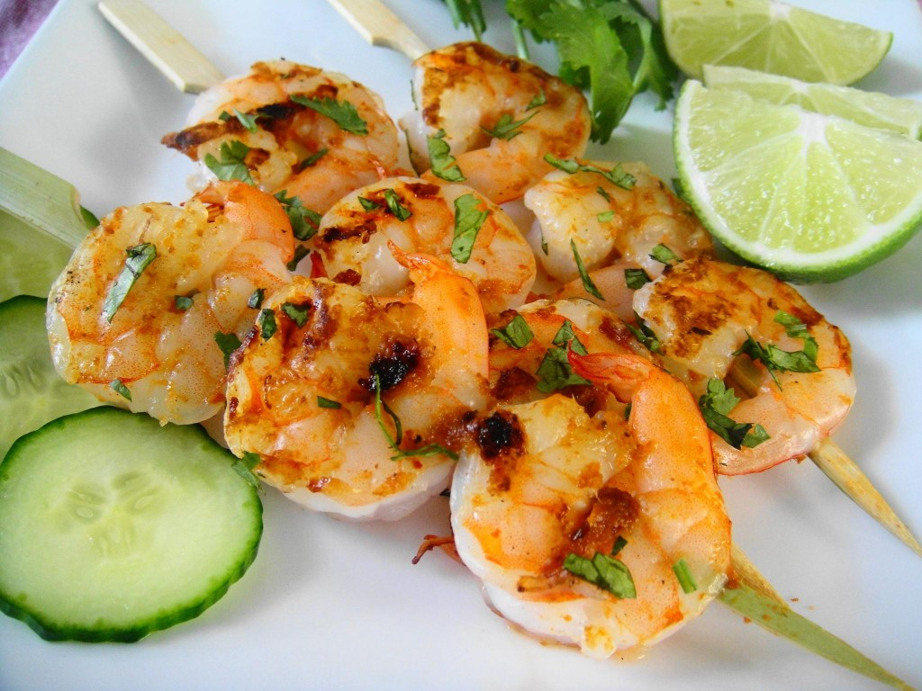 shrimp skewer close up