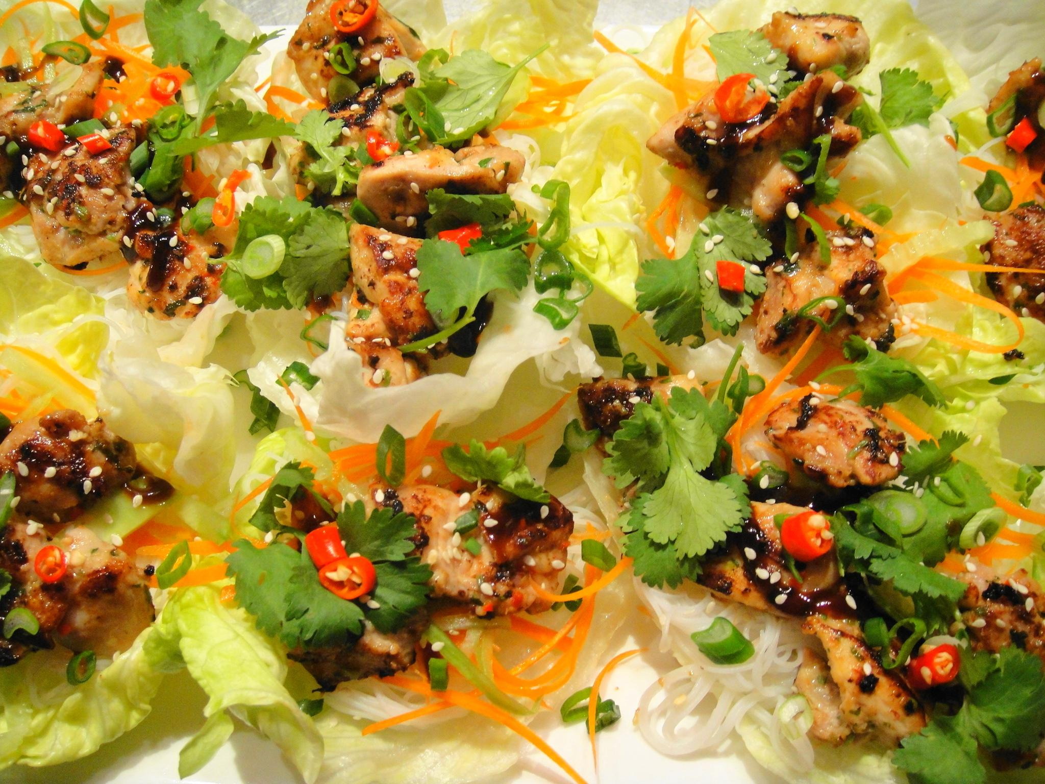asian lettuce wraps top view