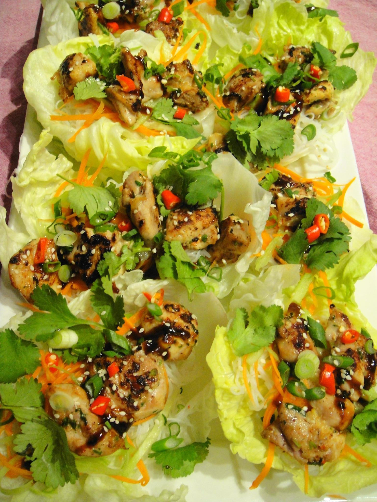 lettuce wraps on platter