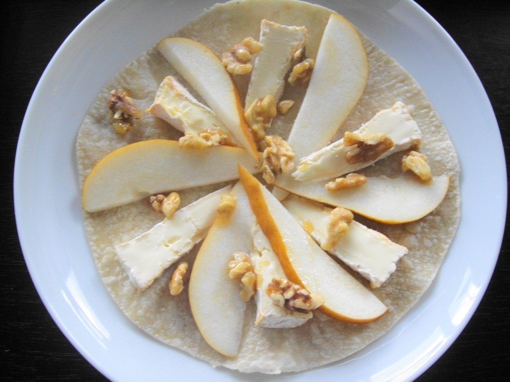 Brie and Pear ready to bake