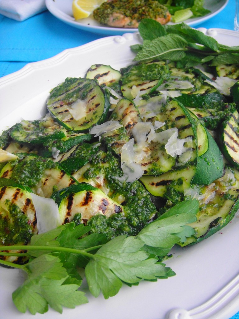 zucchini salad at table