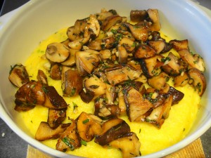 mushrooms on top of polenta