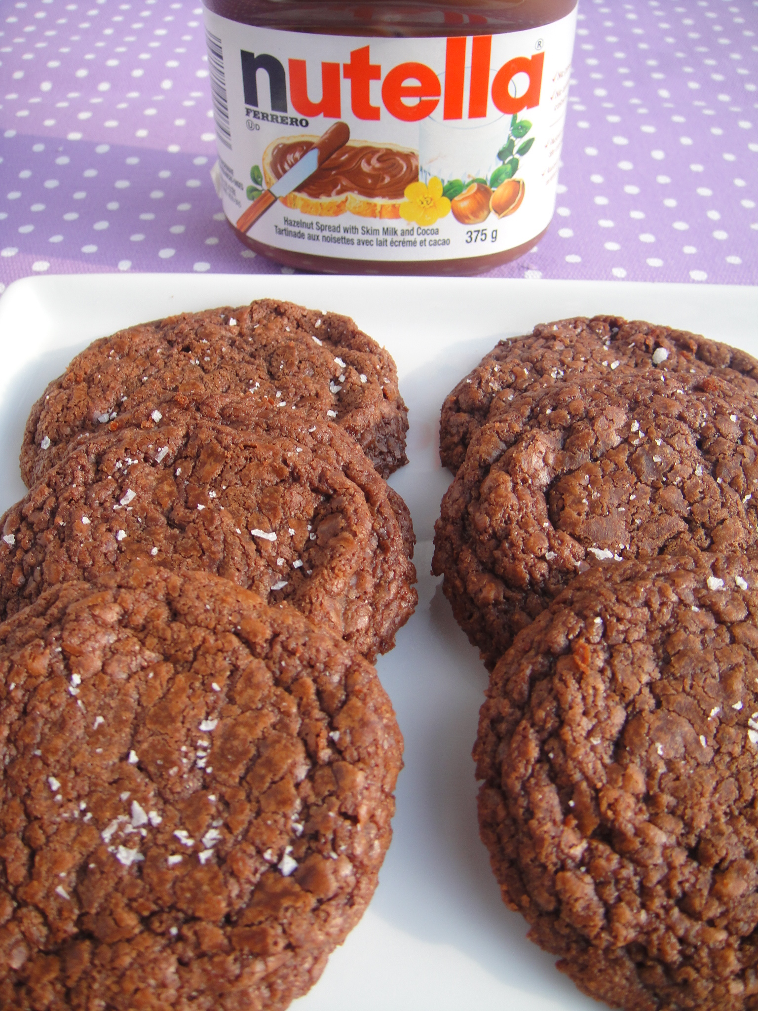 Easy 5 Ingredient Nutella Cookies with Sea Salt (Gluten Free)