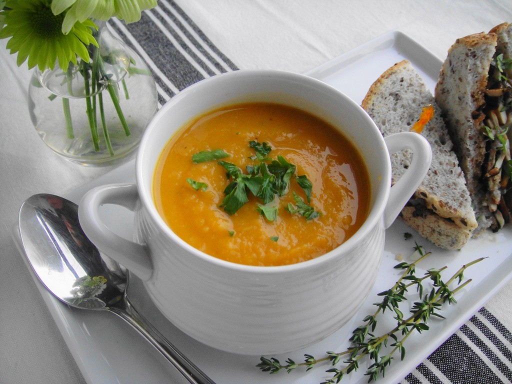 Roasted Root Vegetable Soup close up