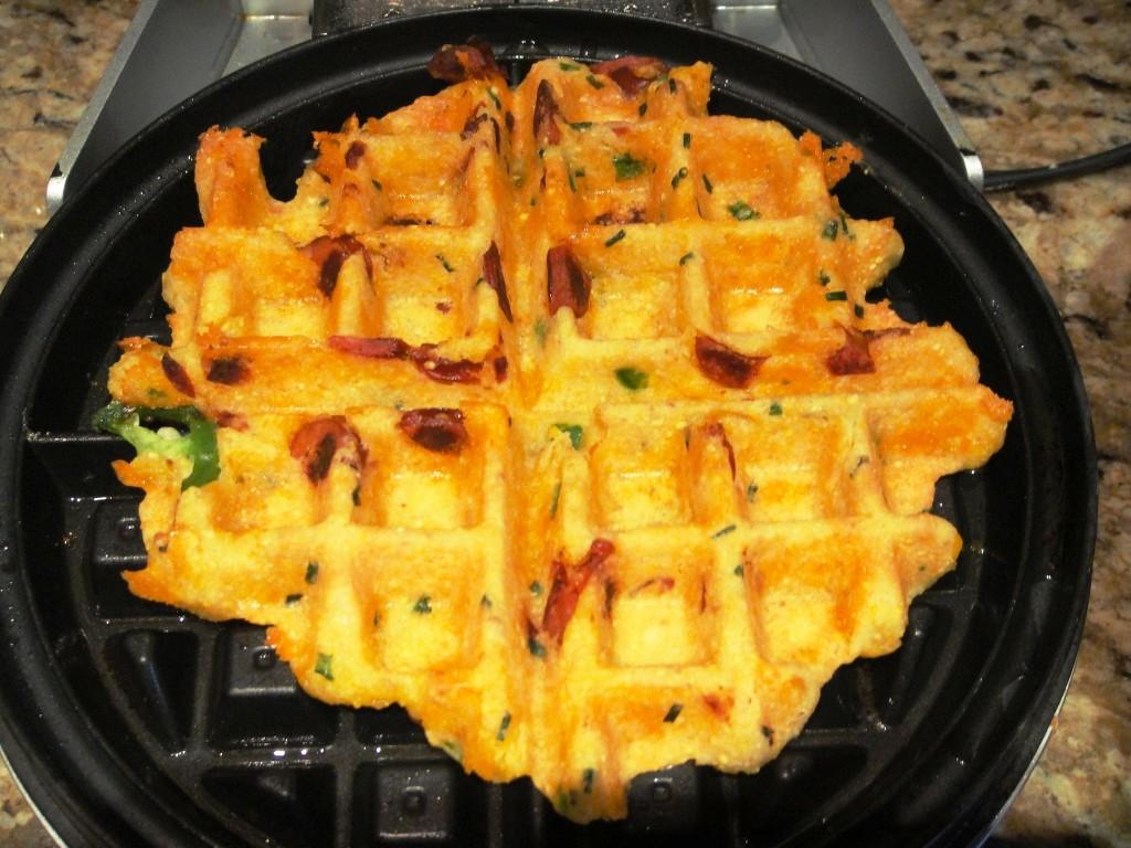 cornbread waffle in iron