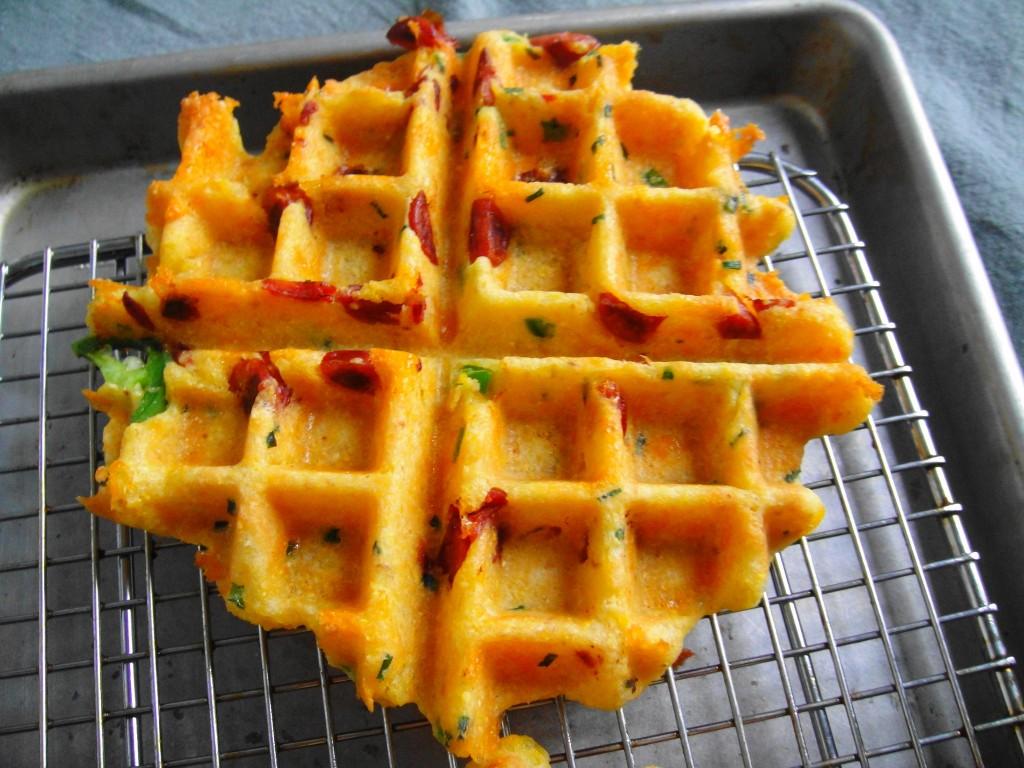 cornbread waffle on rack