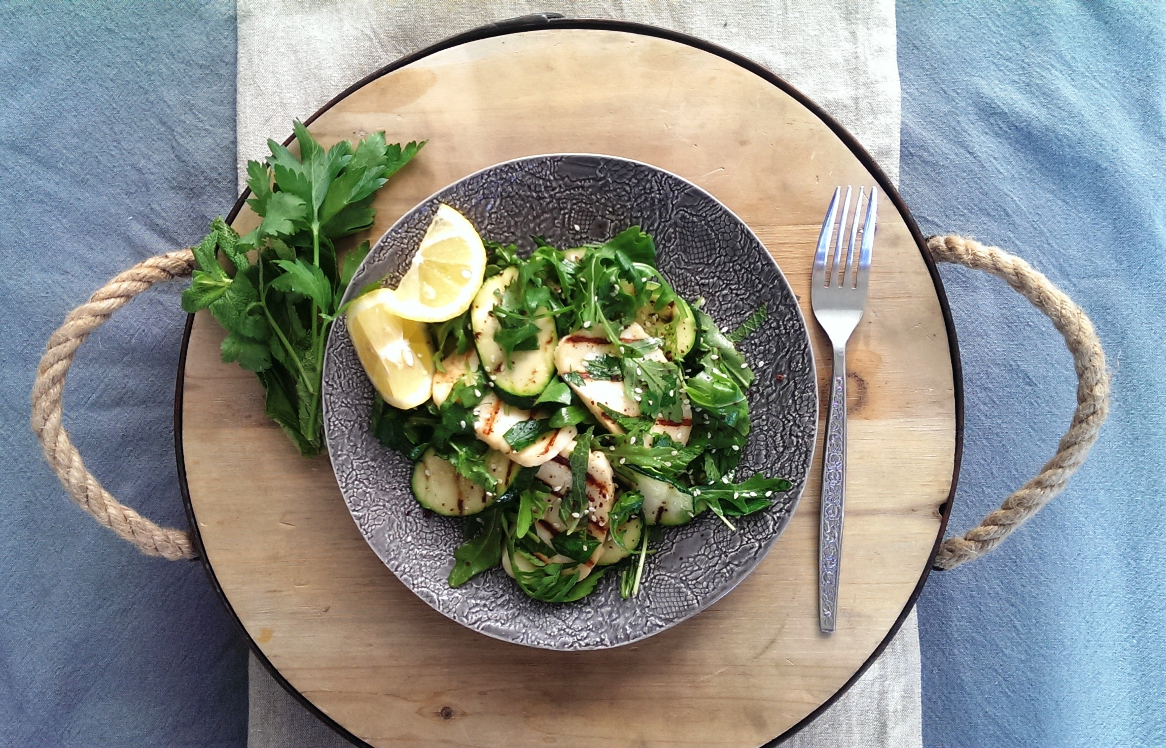 Grilled Haloumi & Fresh Herb Salad