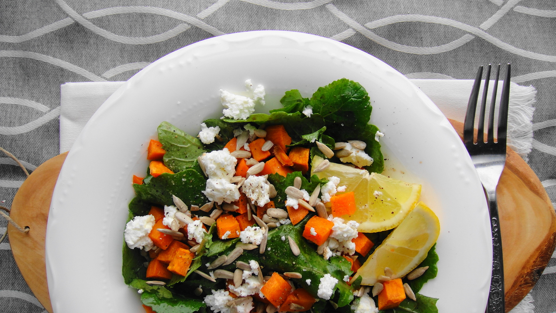 Baby Kale and Sweet Potato Salad