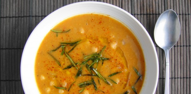 Hearty Chickpea Soup with Fried Rosemary | Freshnessgf.com