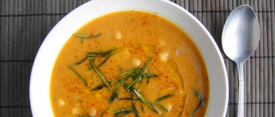 Hearty Chickpea Soup with Fried Rosemary   Freshnessgf.com