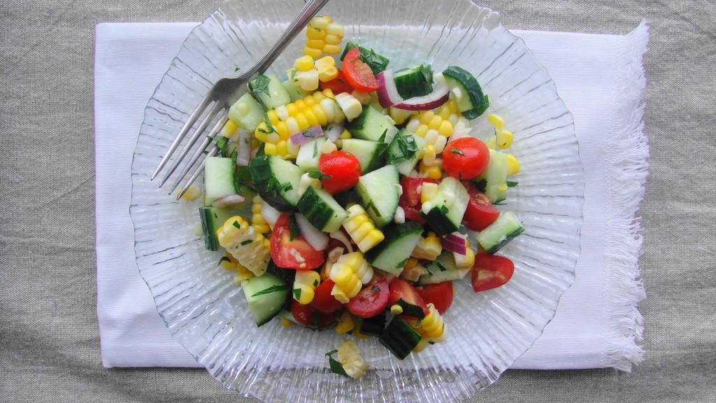 corn salad on plate
