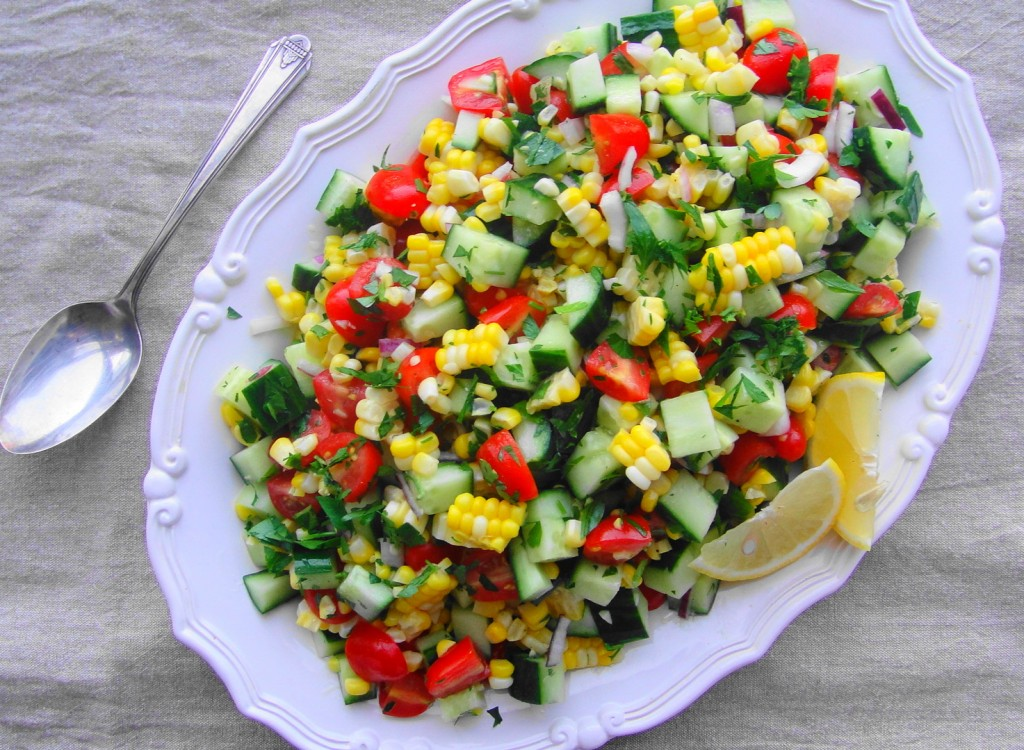corn salad on platter