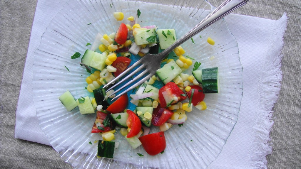 corn salad with fork