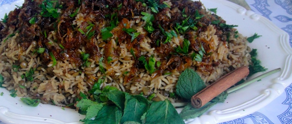 Lebanese Rice, Lentils and Caramelized Onions (Mujaddara)