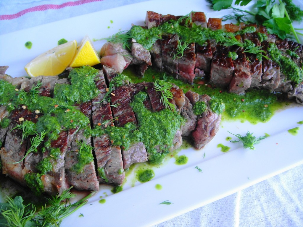 Steak with Chimichurri Sauce   Freshnessgf.com